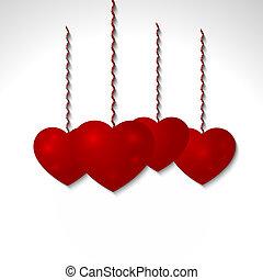 szív, volumetric, gratuláció, valentine's, -, vektor, nap, piros