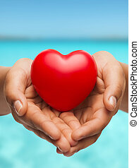 szív, womans, kiállítás, csésze kezezés, piros