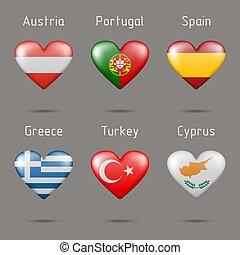 szív, zászlók, alakít