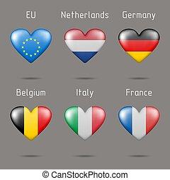 szív, zászlók, alakú, európai
