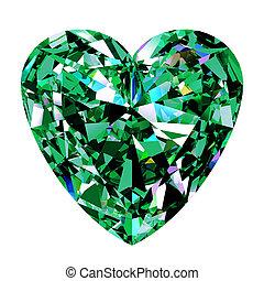 szív, zöld, smaragdzöld
