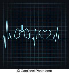 szívdobbanás, csinál, tüdő, szív