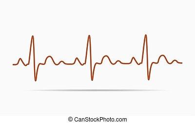 szívdobbanás, ikon, -, vektor, illustration.