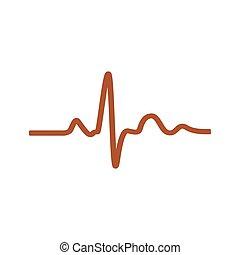 szívdobbanás, vektor,  -, Ábra, ikon