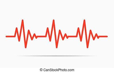 szívdobbanás, vektor, -, illustration., ikon