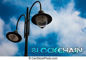 szó, írás, szöveg, blockchain., ügy fogalom, helyett, jegyzék, fahasáb, anyagi állítás, digitális, adatok, technológia, hanglemez, fény, állás, kék, felhős, elhomályosul, ég, gondolat, üzenet, felvilágosít, reflections.