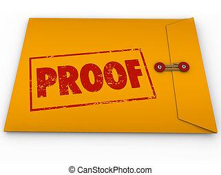 szó, boríték, sárga, bizonyíték, igazolás, bizonyság, próba