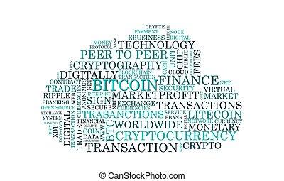 szó, címke, felhő, bitcoin, crypto, pénznem, vektor