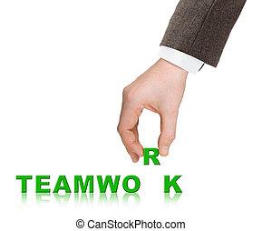 szó, csapatmunka, kéz