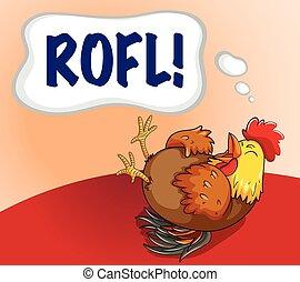 szó, csirke, kifejezés, nevető
