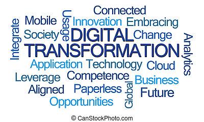 szó, digitális, transzformáció, felhő