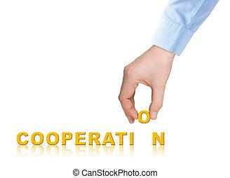 szó, együttműködés, kéz