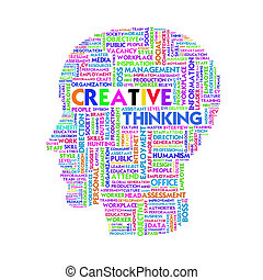 szó, felhő, ügy fogalom, belső, fej, alakít, gondolat, és, kreatív
