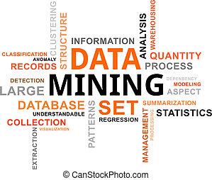 szó, felhő, -, adatok, bányászás