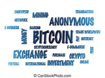 szó, felhő, -, bitcoin., 3, illustration.