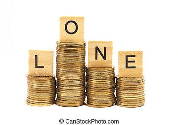 szó, kölcsönad, fogalom, képben látható, wooden gátol, felett, képben látható, kazalba rakott, pénzdarab.