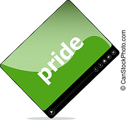 szó, média, játékos, társadalmi, határfelület, büszkeség, concept: