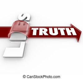 szó, nyíl, felett, fekszik, megüt, vs, igazság, tisztességtelenség, becsületesség