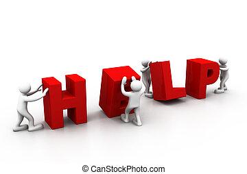 Szó, segítség, emberek,  -, férfiak, személy, gyártás, 3