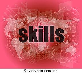 szó, szakértelem, ellenző, háttér, digitális, érint, oktatás, concept: