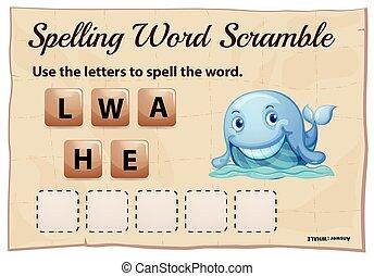szó, tülekedés, játék, sablon, helyesírás, bálna