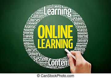 szó, tanulás, felhő, online