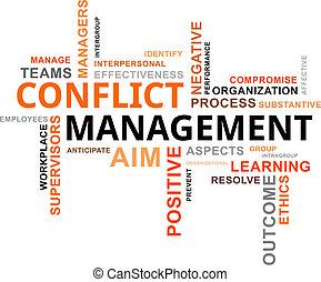szó, vezetőség, -, felhő, konfliktus
