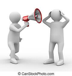 szónok, beszél, alatt, megaphone., elszigetelt, 3, kép