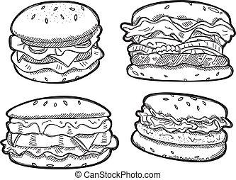 szórakozottan firkálgat, állhatatos, burger