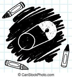 szórakozottan firkálgat, biztonság, rajz tekebábu