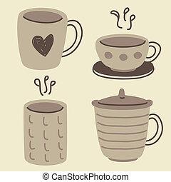 szórakozottan firkálgat, csészék, állhatatos