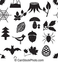 szórakozottan firkálgat, erdő, seamless, motívum