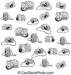 szórakozottan firkálgat, fényképezőgép, ábra