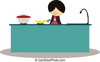 szórakozottan firkálgat, főzés, anya, konyha