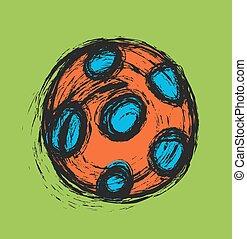 szórakozottan firkálgat, futball, vektor, labda