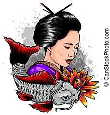 szórakozottan firkálgat, gésa, fish., style., nők, beautyful...