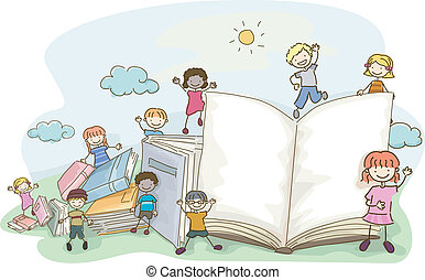 szórakozottan firkálgat, gyerekek, könyv