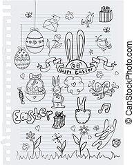 szórakozottan firkálgat, húsvét