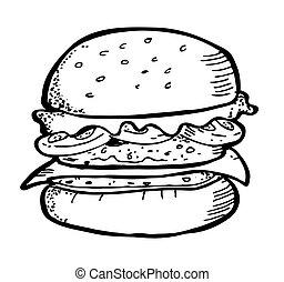 szórakozottan firkálgat, hamburger
