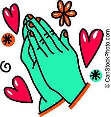 szórakozottan firkálgat, imádkozás, karikatúra, kézbesít