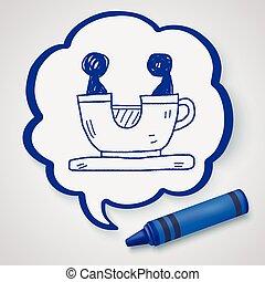 szórakozottan firkálgat, kávécserje, liget, játék, csésze