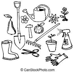 szórakozottan firkálgat, kert, gyűjtés
