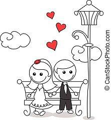 szórakozottan firkálgat, párosít, esküvő