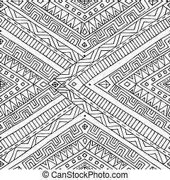 szórakozottan firkálgat, pattern., seamless, ázsiai, etnikai black, fehér