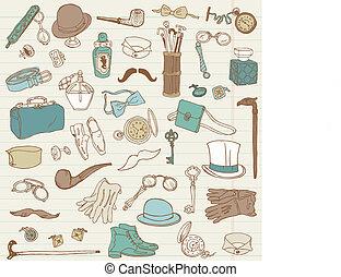 szórakozottan firkálgat, -, segédszervek, gyűjtés, kéz, vektor, húzott, gentlemen's