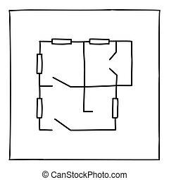 szórakozottan firkálgat, szoba, floorplan, ikon