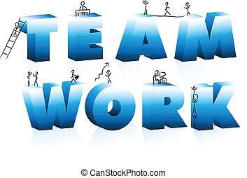 szórakozottan firkálgat, teamwork., szó, karikatúrák, mászó