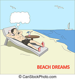 szórakozottan firkálgat, vektor, tengerpart, álmodik, ember