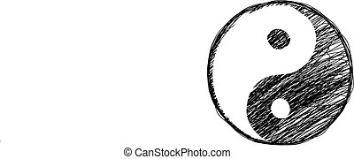 szórakozottan firkálgat, yin-yang, jelkép