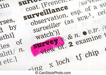 szótár, meghatározás, felmérés